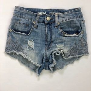 Mossimo High Rise Embroidered Booty Jean Shorts 0